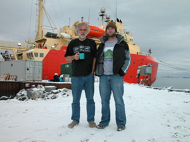 Bill Baker (l) with researcher Alan Maschek in front of the R/V LM Gould (Photo: Jim McClintock)