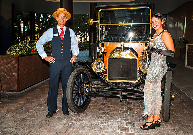 'Henry Ford' and 'flapper' Christine Gitch with 1912 Ford, courtesy of Bob and Pam Most